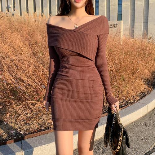 zanne-[LEXY] 밤하늘의 별을 투웨이 오프숄더 골지 원피스 - 잔느♡韓國女裝連身裙