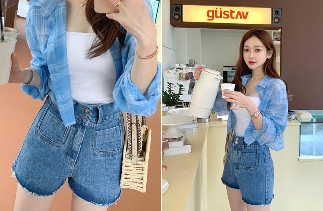 minsshop-(면100%)사이즈조절하는 데님숏팬츠♡韓國女裝褲
