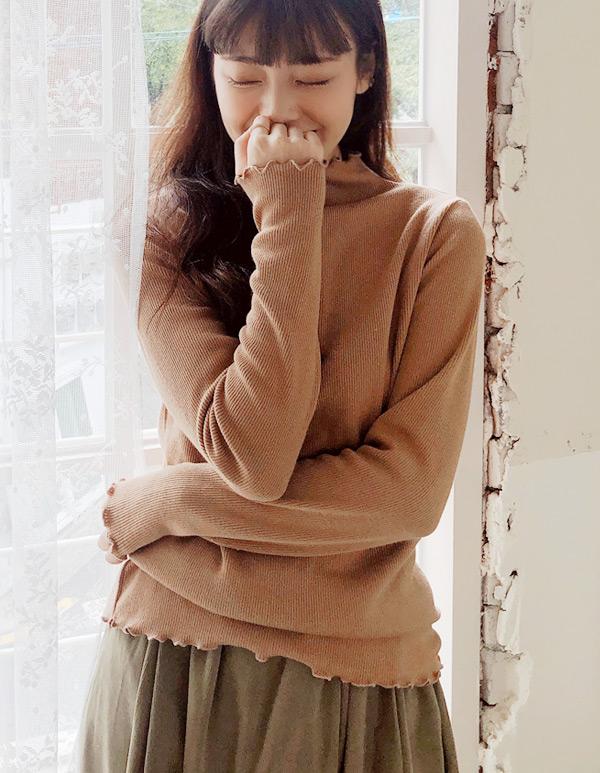 goroke-[골지 프릴넥T*4c]♡韓國女裝上衣