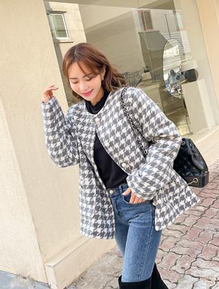 jstyleshop-[피스론 하운드 진주 울자켓(4온스)]♡韓國女裝外套