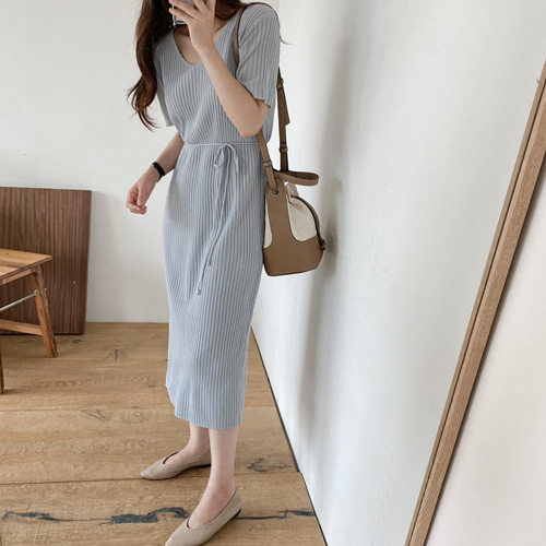修身針織直紋連身裙