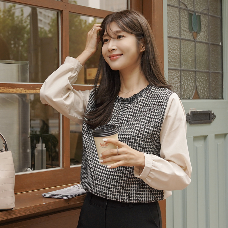 clicknfunny-[셀튼 트위드블라우스]♡韓國女裝上衣