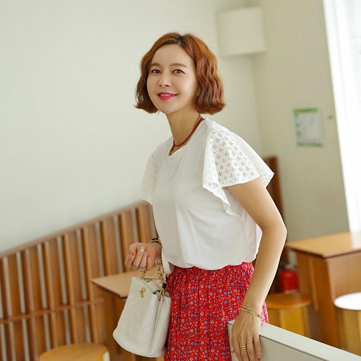 lemite-동그란꽃 티♡韓國女裝上衣
