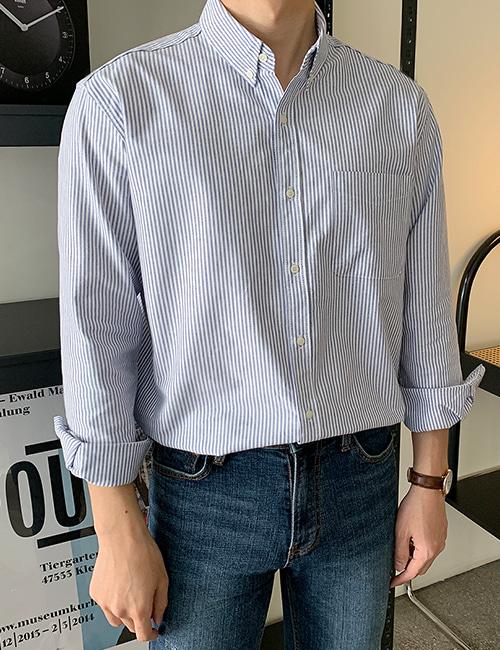 from-us-어베인 옥스포드 스트라이프 셔츠 (4color)♡韓國男裝上衣