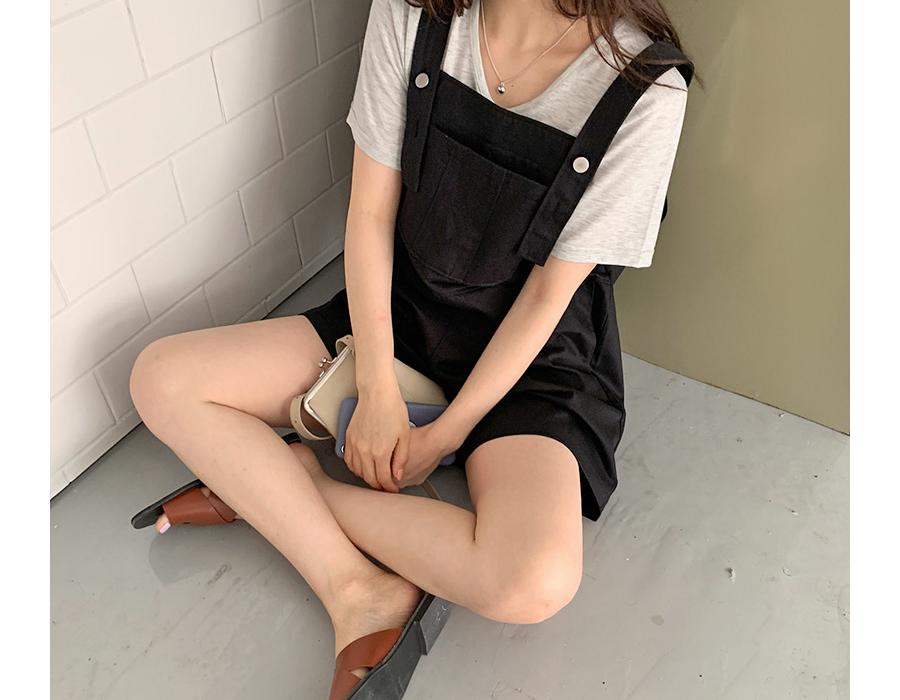 frombeginning-데일리 하프오버롤팬츠 (2color)♡韓國女裝褲