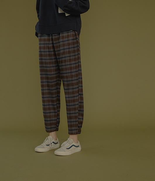 roompacker-룸페커 [피치기모 체크 밴딩 조거팬츠]♡韓國女裝褲