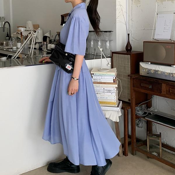 66girls-[LL] 반오픈카라언발롱OPS♡韓國女裝連身裙