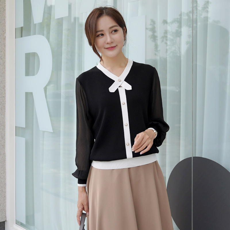 clicknfunny-[르날배색 쉬폰니트]♡韓國女裝上衣
