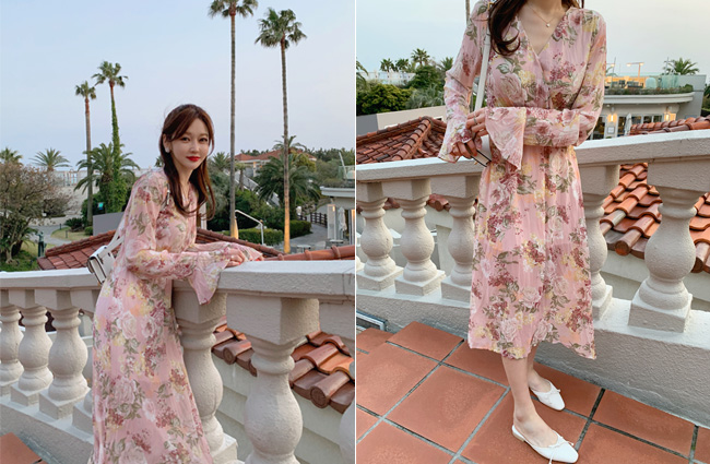 minsshop-꽃다발 쉬폰 원피스♡韓國女裝連身裙