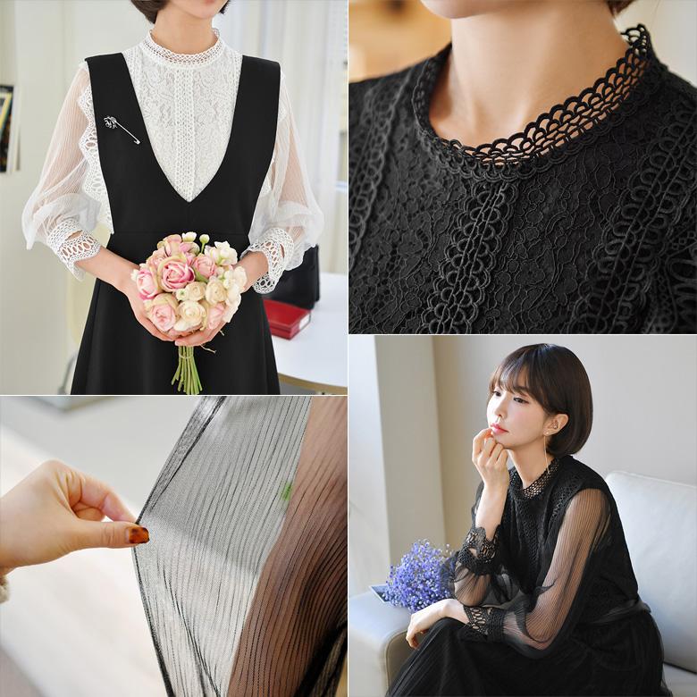 midasb-[이프 레이스 시스루 블라우스]♡韓國女裝上衣