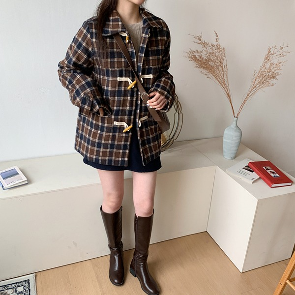 66girls-체크더플누빔자켓♡韓國女裝外套