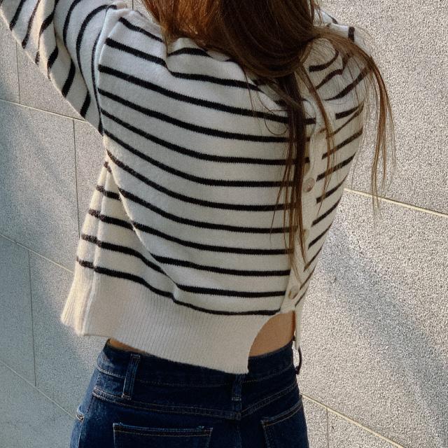 banharu-반하루[모나코 백버튼 스트라이프니트]♡韓國女裝上衣
