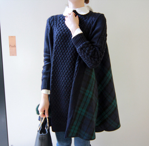leelin-[프렌드 니트체크 원피스[size:F(55~날씬77가능)]]♡韓國女裝連身裙