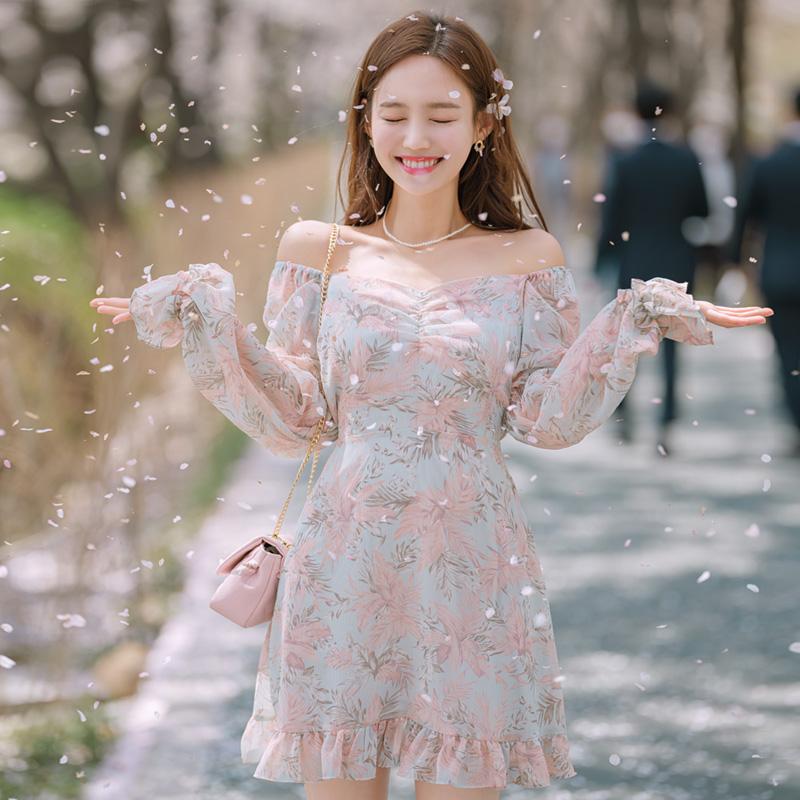 attrangs-op8923 프레쉬한 리프패턴의 오프숄더 가능한 스퀘어넥 디자인 플레어 미니원피스 dress♡韓國女裝連身裙