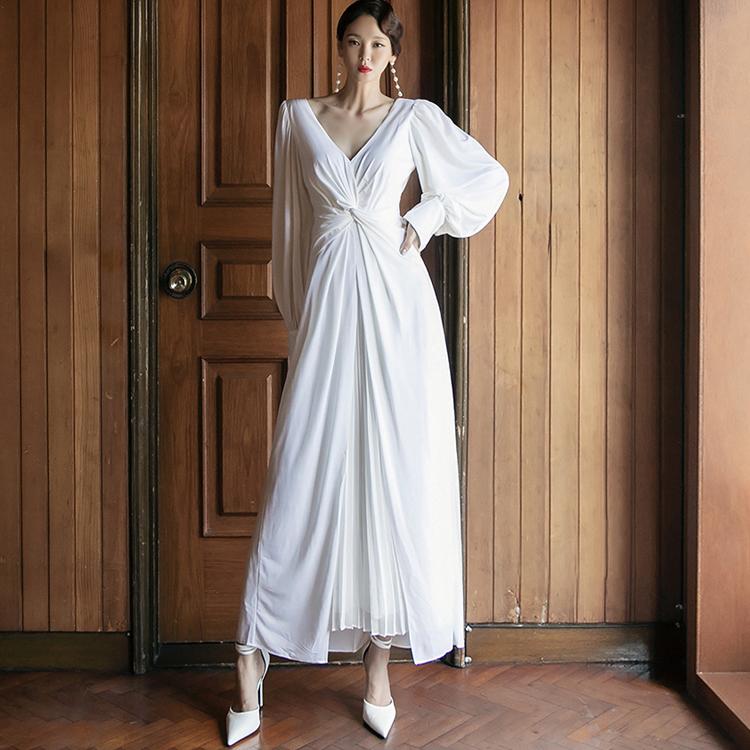 dint-[D4116 메르 셔링 플리츠 롱 원피스*L사이즈 제작*]Document♡韓國女裝連身裙