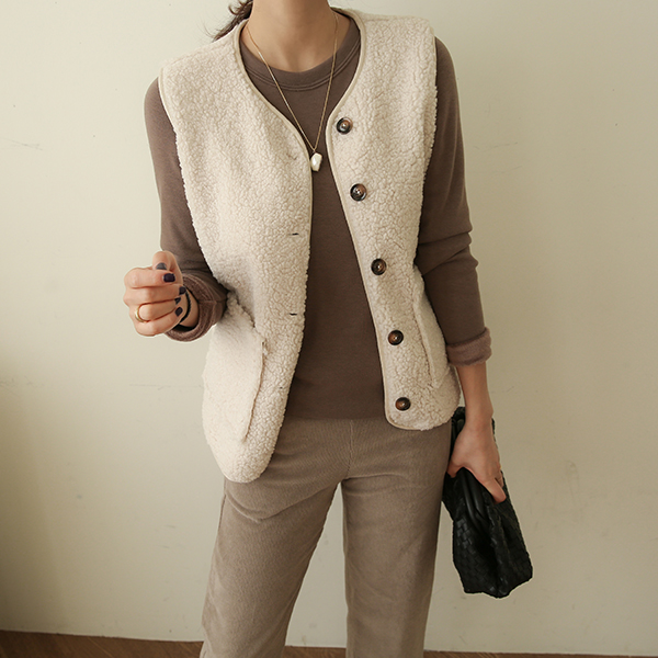 canmart-[양털뽀글이단추조끼 C110608]♡韓國女裝外套