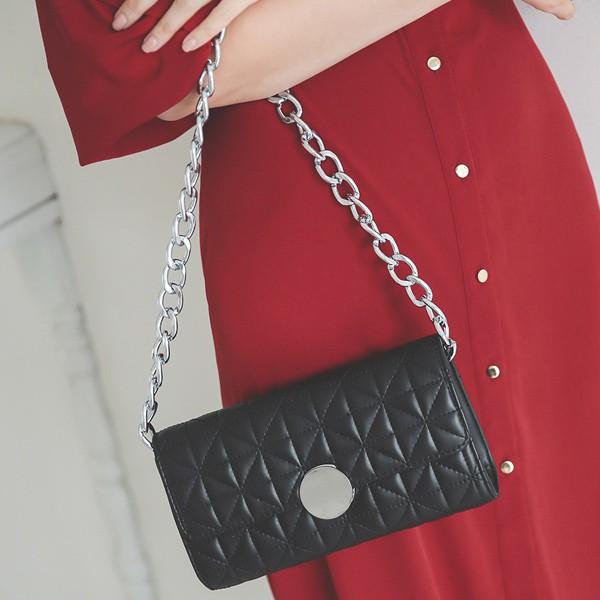 ode-[라운딩 실버 버클 퀄팅 체인백]♡韓國女裝袋