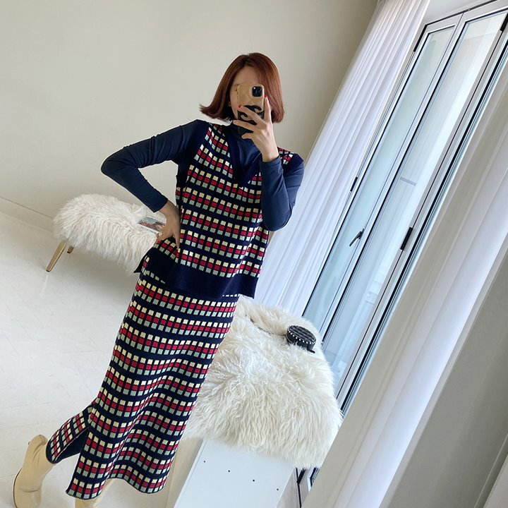 lemite-컬러큐브 니트세트(조끼+스커트)♡韓國女裝套裝