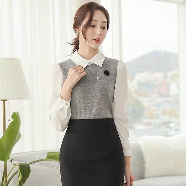ode-[플랫카라 니트 배색 블라우스 Ⅱ]♡韓國女裝上衣