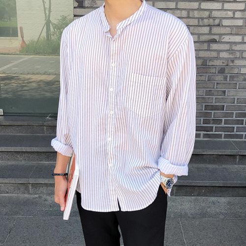 allo-d-로프 스트라이프 헨리넥 셔츠♡韓國男裝上衣