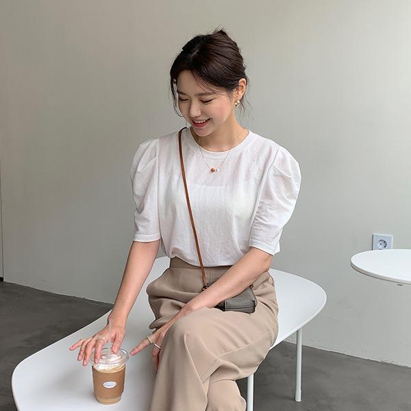 66girls-[LL] 퍼프반팔티셔츠♡韓國女裝上衣