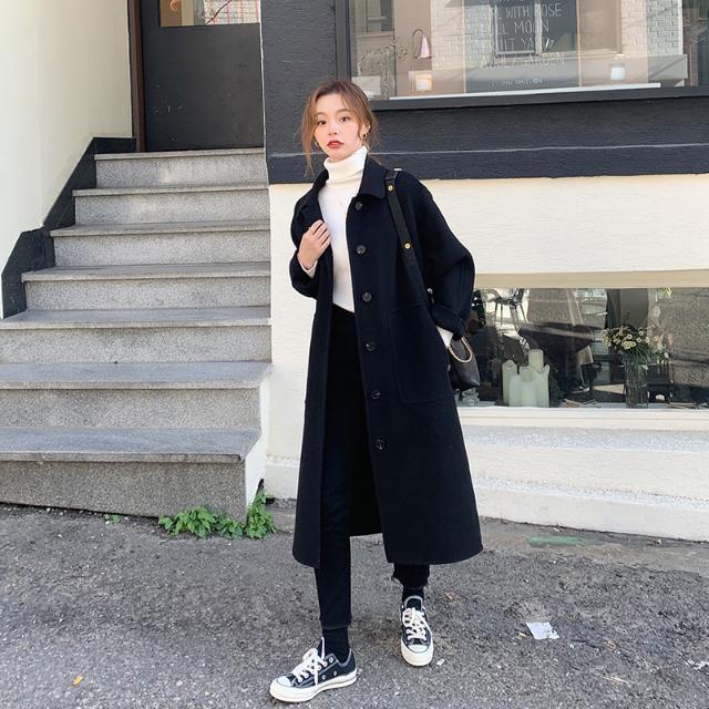 1015mk-일자 버튼 모던 롱 코트♡韓國女裝外套