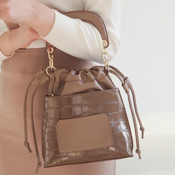 ode-[배색 크로커 패턴 미니 핸드 조리백]♡韓國女裝袋