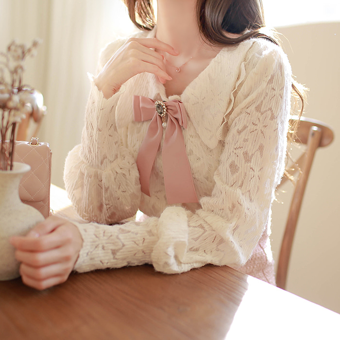 myfiona-크리스리본 레이스카라 블라우스 a1138 - 러블리 로맨틱룩 1위 쇼핑몰 피오나♡韓國女裝上衣