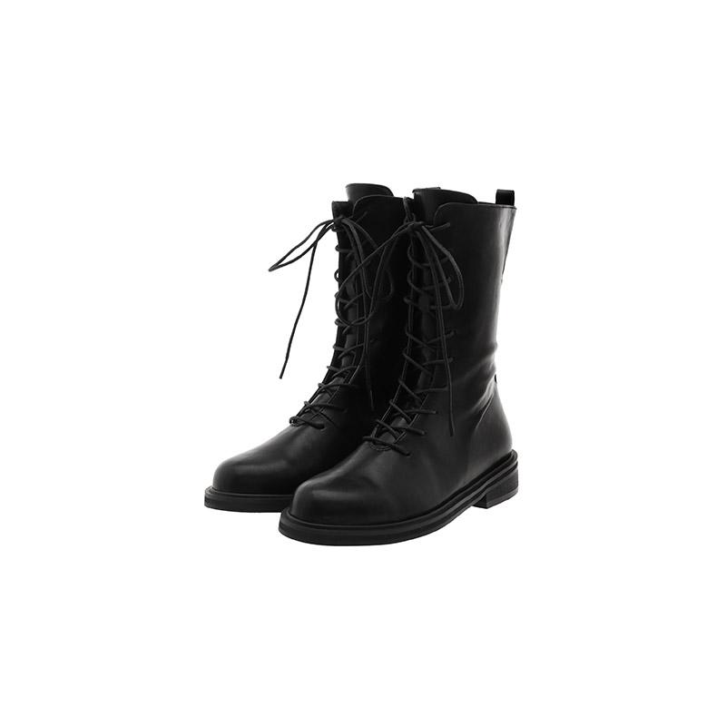 attrangs-sh1983 둥근코 쉐입의 데일리 레이스업 미들 워커 부츠 shoes♡韓國女裝鞋