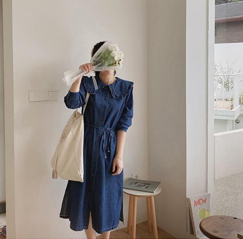 leelin-[트리벨 프릴 카라 데님 원피스[size:F(55~66)]]♡韓國女裝連身裙