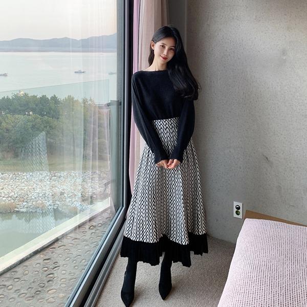 benito-맨해튼 배색 플리츠 스커트 겨울/데일리/베스트/신상/여성♡韓國女裝裙