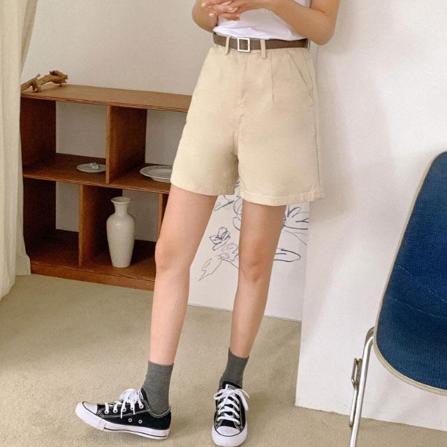 banharu-반하루[하이웨스트 4부 코튼숏팬츠]♡韓國女裝褲