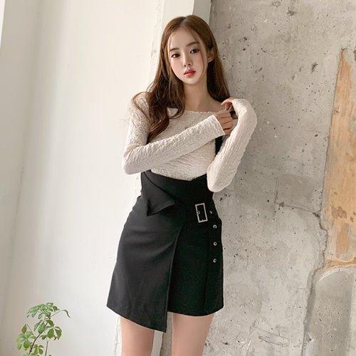 jnroh-루크 멜빵 버클 벨트 랩 미니 원피스(베이지,블랙)♡韓國女裝連身裙