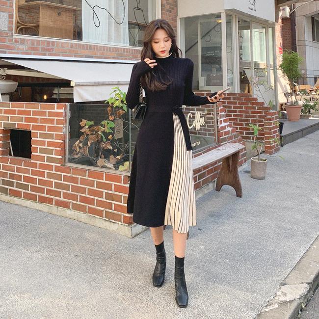 cherryville-[고급진매력플리츠 벨트니트원피스]♡韓國女裝連身裙