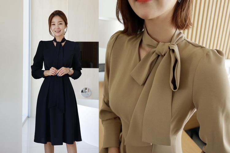 loveparis-[후기204개]드리 헵번 쉬폰원피스(2color) 네이비,베이지(55/66/77 size)♡韓國女裝連身裙