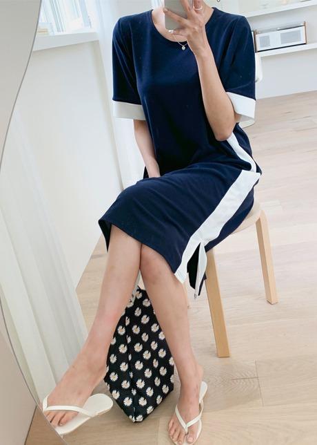 loloten-차론 사이드배색원피스♡韓國女裝連身裙