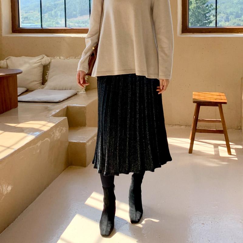attrangs-sk4361 샤인 플리츠 니트 스커트♡韓國女裝裙
