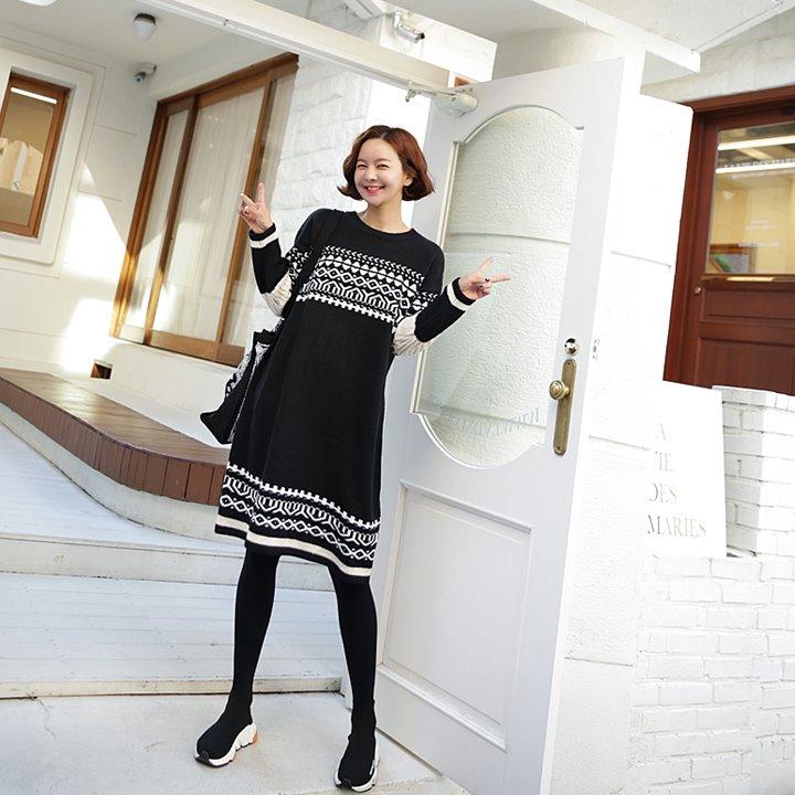 lemite-문양 니트원피스♡韓國女裝連身裙