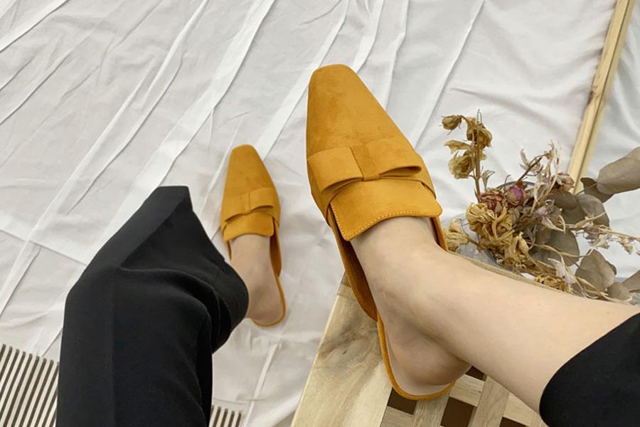 blancjo-스웨이드 리본 포인트 블로퍼_ss03745♡韓國女裝鞋
