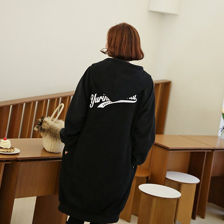 lemite-핫후드 레터링집업(기모안감)♡韓國女裝外套
