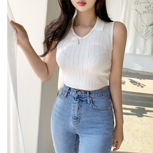 jnroh-세라 카라 브이 골지 크롭 니트(아이보리,블랙)♡韓國女裝上衣