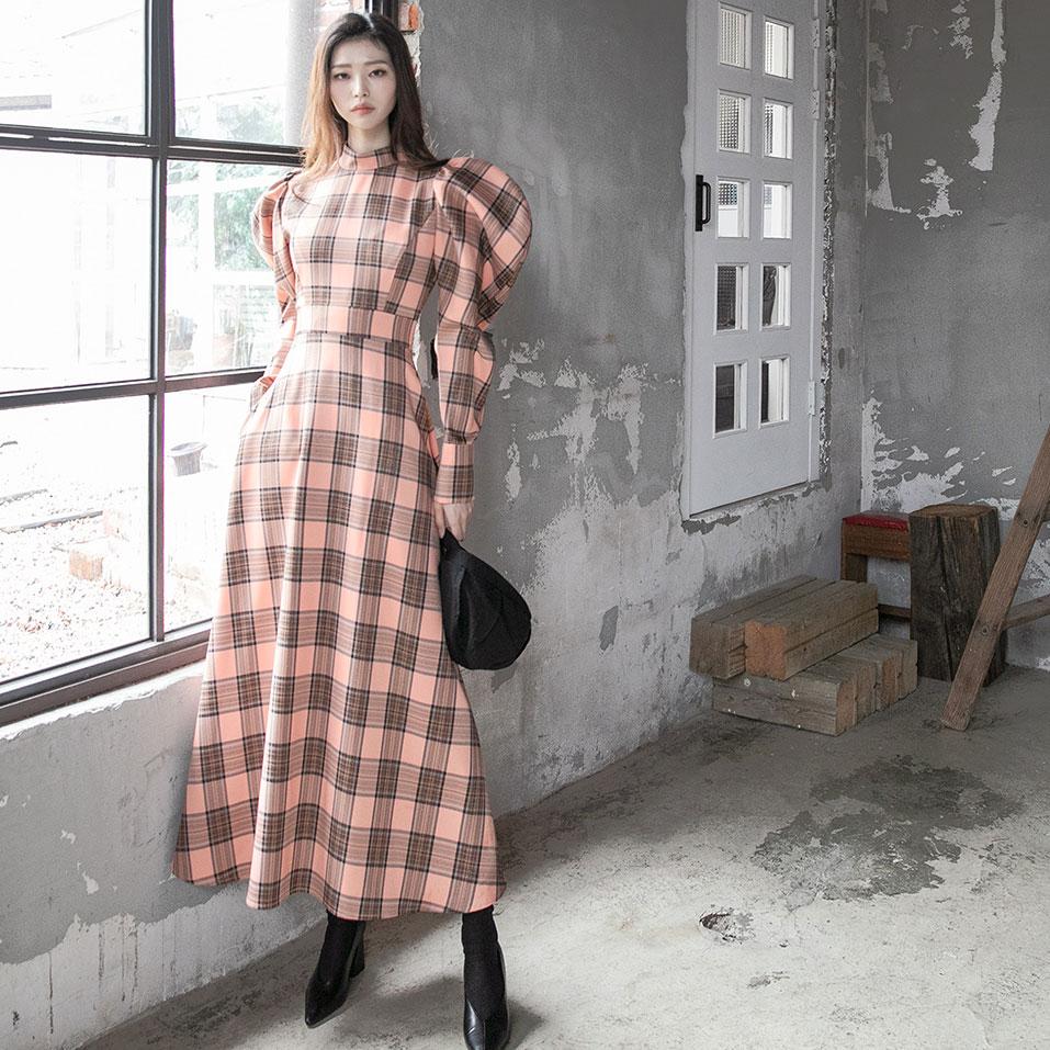 dint-[D9107 그렐린 체크 퍼프 원피스]Document♡韓國女裝連身裙