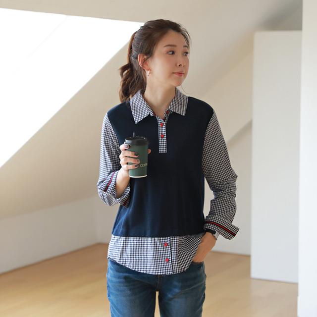 tiramisu-9005투게더체크배색남방♡韓國女裝上衣
