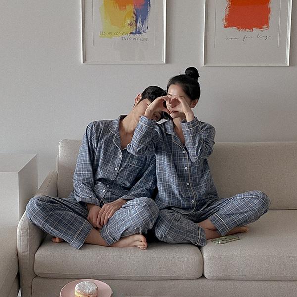 realcoco-[20%할인❣️/당일발송]♥NEW♥레인체크 잠옷세트(파자마/홈웨어/집콕룩)♡韓國女裝睡衣