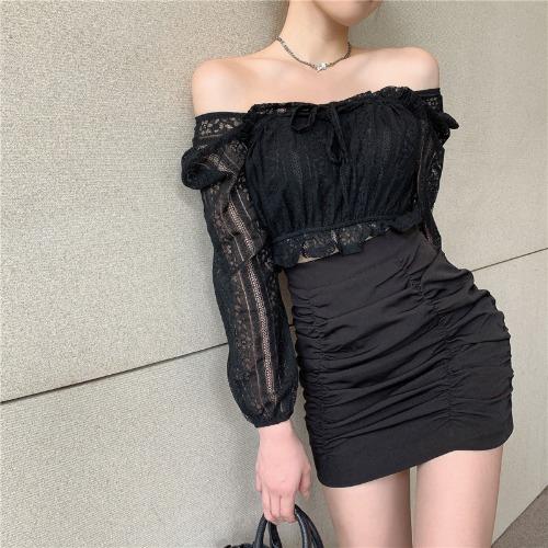 zanne-웨딩데이 스퀘어넥 레이스 블라우스 셔링 스커트 투피스 세트 - 잔느♡韓國女裝套裝