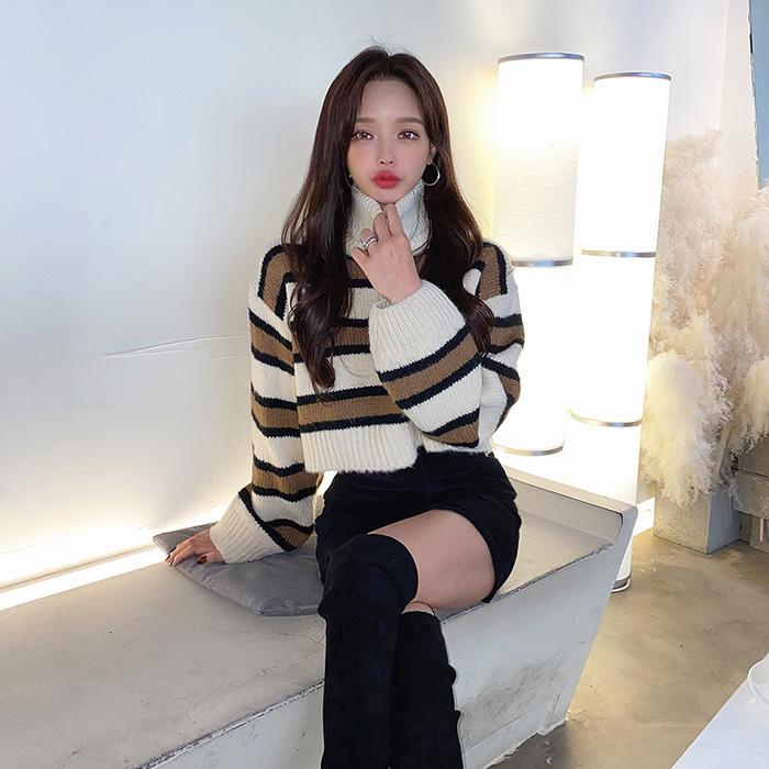 choper-단가라크롭폴라니트♡韓國女裝上衣
