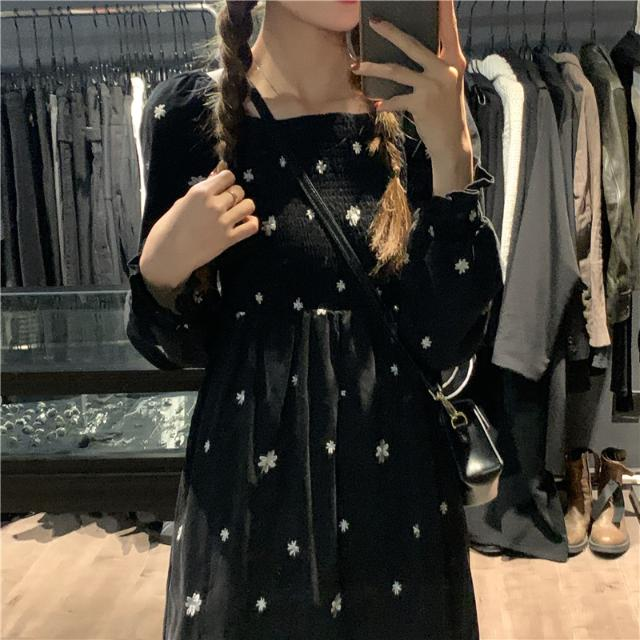 1015mk-데이지 가득 셔링 롱 원피스♡韓國女裝連身裙