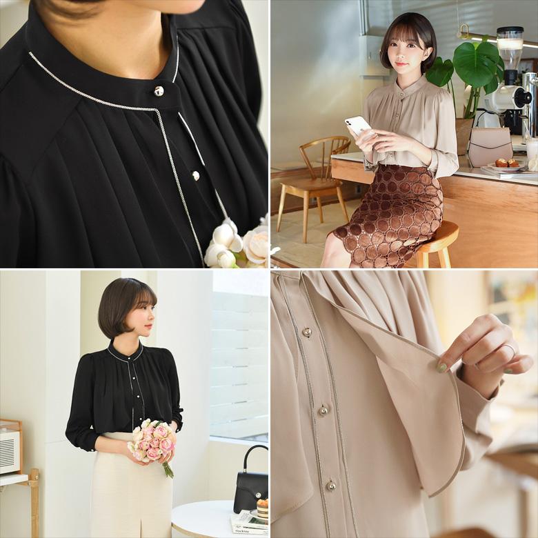 midasb-[니키 큐빅 쉬폰 블라우스]♡韓國女裝上衣