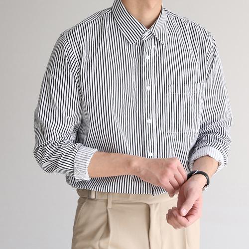 allo-d-로빈 라운드 스트라이프 셔츠♡韓國男裝上衣