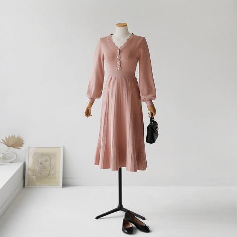jooen-물결 버튼 플레어 니트 원피스(55~통통66)♡韓國女裝連身裙